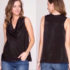 Tops - Black Satin Cowl Neck Blouse